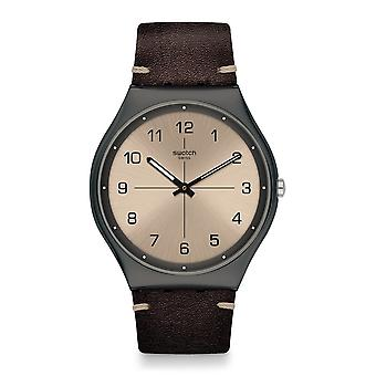 Swatch Ss07m100 Time To Trovalize Gunmetal Grey & Dark Brown Leather Watch