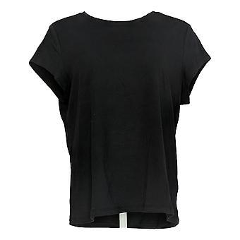 Anybody Women's Top Short Sleeve Boyfriend Tee Black A391576