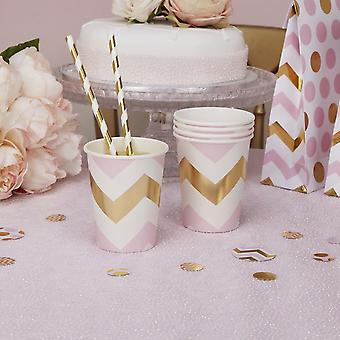 Paper Party Cups Pink Chevron x 8 Birthday Partyware