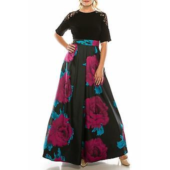 Multi Long Crepe & Twill Evening Dress