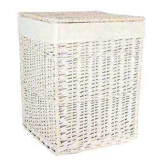 Kleine quadratische weiße Wäsche Wicker Wäschekorb