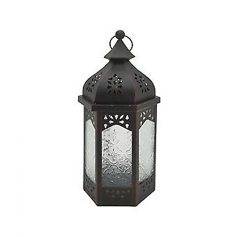 Rebecca Mobili Portacandele Lanterna Nera Vetro Metallo Giardino Camera 32x16x14