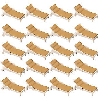 20PCS Plastic Beige & Brown Mini Indoor Outdoor 1:75 Beach Chair Models