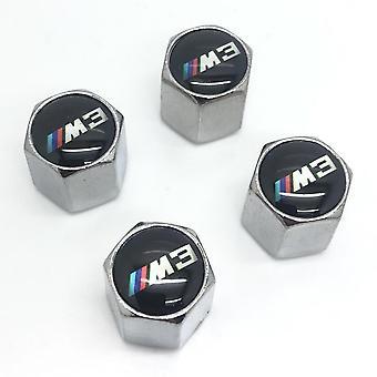 BMW M3 Set of 4 Chrome Anti-Theft Car Tyre Air Dust Valve Stem Cap
