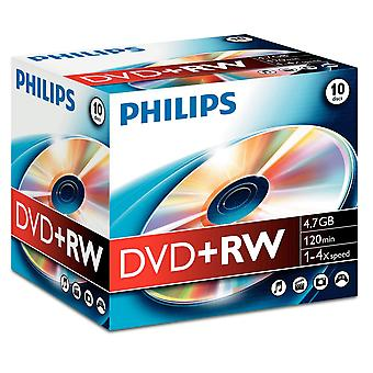 Philips dvd+rw 4.7gb (4x) 10pk jewel case 10er jewel case dvd + rw
