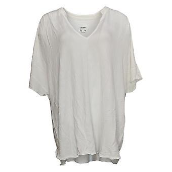 Lisa Rinna Collection Femmes's Top Plus V-Neckline Hi-Lo Hem White A379709