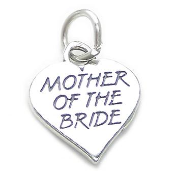 Mother Of The Bride Heart Sterling Silver Charm .925 X 1 Wedding Charms - 4137