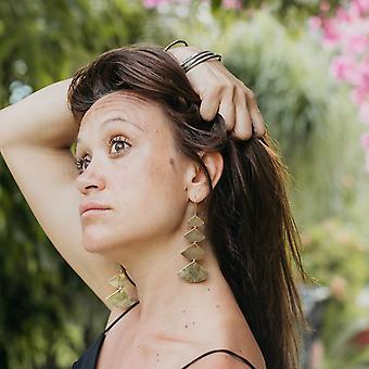 Henna Inspired Brass Chandelier Earrings