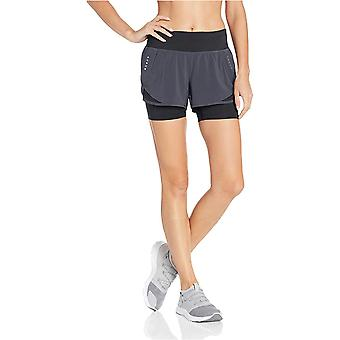 Core 10 Women's Standard Knit Waistband Run Short with Built-in Compression, Dark Grey/Black S (4-6)