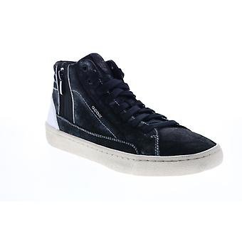 Geox U Warley  Mens Black Leather Lace Up Euro Sneakers Shoes