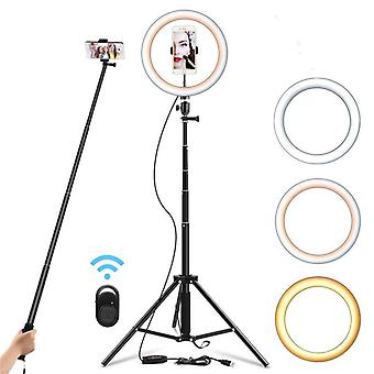 Selfie Ring Light Dimmable Tripod Stand - Cell Phone Holder For Video