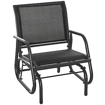 Outsunny Outdoor Gliding Swing Chair Garden Seat w/ Mesh Seat Curved Back Steel Frame Armrests Comfortable Lounge Furniture Dark Grey Black