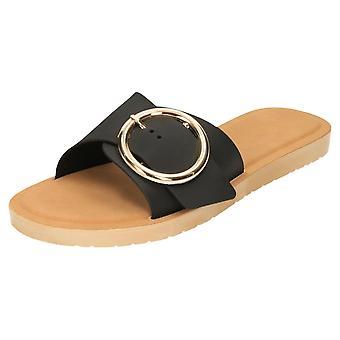 Krush Flip Flop Slider Open Toe Jelly Sandals Flat Black