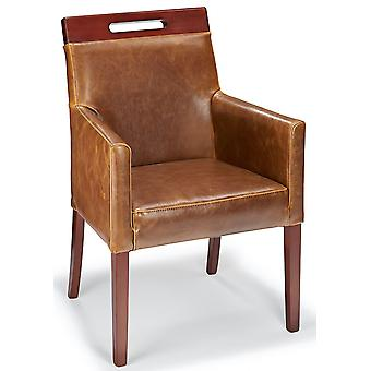 Modernavon Tan Real Leather Tub Dining Relaxing Chair Walnut Legs Fully Assembled
