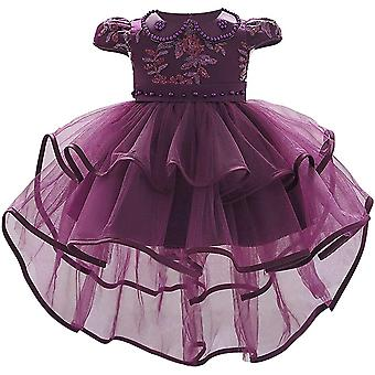 Baby Girl formálne krst princezná šaty 1130-tmavá fialová