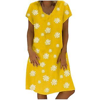 Women Plus Size Short Sleeve Loose Knee-length Dresses