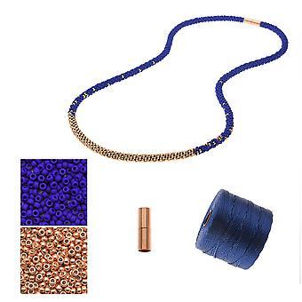 Wkład - Naszyjnik Kumihimo z koralikami - Blue & Rose Gold - Ekskluzywny zestaw biżuterii Beadaholique