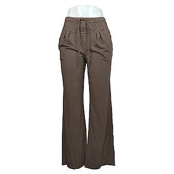 أي شخص السراويل النسائية ريج دافئ نوع جيرسي متماسكة الساق واسعة براون A377740