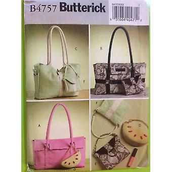 Butterick ompelu kuvio 4757 Naiset / Misses Käsilaukut Kuusi kokoa UC Tarvikkeet