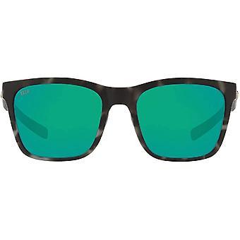 Costa Del Mar Womens Panga Polarized Square Sunglasses - Matte Grey Tortoise/Green Mirrored - 56 mm