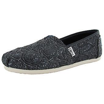 Toms Womens Lace Glitz Slip På Alpargata Flat Shoe