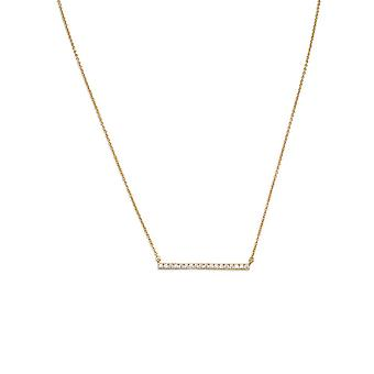 14k Gld Flashed 925 Sterling Silver 16 Inch + 2 Inch CZ Bar Necklace 16� + 2� CZ CZ is 2mm X 30mm Spring Jewelry Gifts f