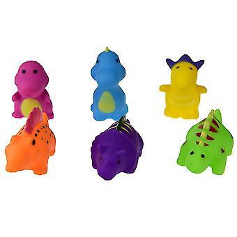 6個の赤ちゃんバスタイム楽しい恐竜ゴムバスタブのおもちゃ