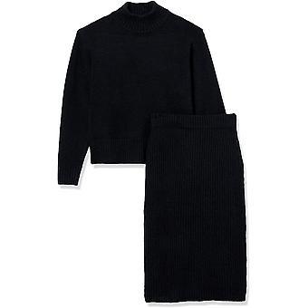 Ritual diario de las mujeres relajado-fit acogedor Boucle Mockneck suéter &lápiz falda de 2 piezas traje