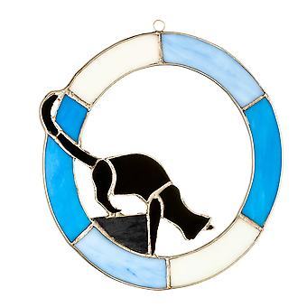 Handcrafted Stained Glass Cat Hanging Ornament | Ready To Pounce | Gift Item