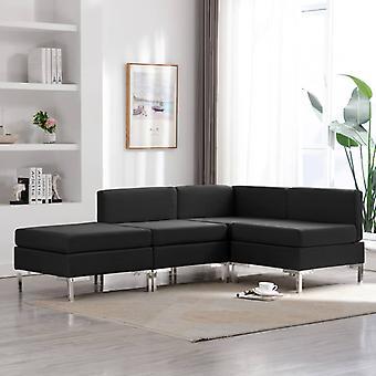 vidaXL 4 pcs. Sofa set fabric black