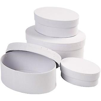 4 blanc papier mâché ovale empiler les boîtes - 16x7cm plus grand | Papier mâché boîtes
