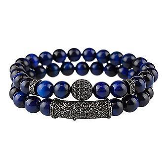 Bracelet set-meled beads and rhinestones, blue