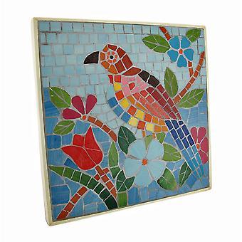 Tropischen Mosaik Fliesen-Papagei-Wand-Plakette