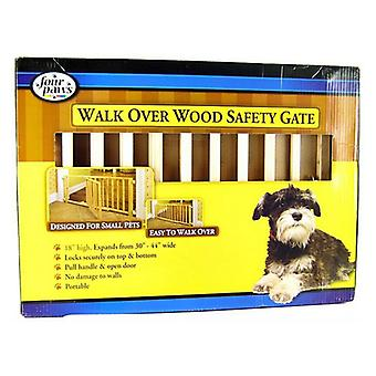 """Four Paws Walk Over Wood Safety Gate with Door - 30""""-44"""" Wide x 18"""" High"""