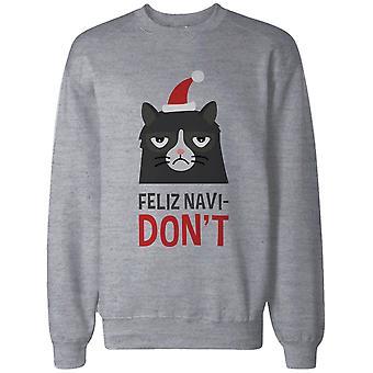 Mürrische Katze lustige Grafik Sweatshirt grau – Feliz Navi-nicht lustig Urlaub Pullover