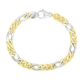 14k Two-Tone Gold Heren Figaro Link Style Armband