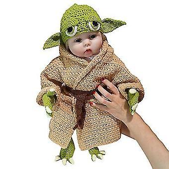 Set Master Yoda Baby Sto dní Dětské fotografické rekvizity Ručně pletené pět kusů