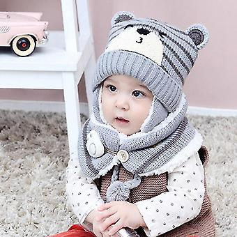 Gray Cute Baby Boy And Girl Warm Knitted Animal Hat And Scarf For Toddlers Winter Crochet Beanie Set