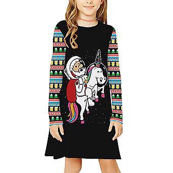 Christmas Kids Girls Unicorn Long Sleeve Tunic Dress Xmas Dresses