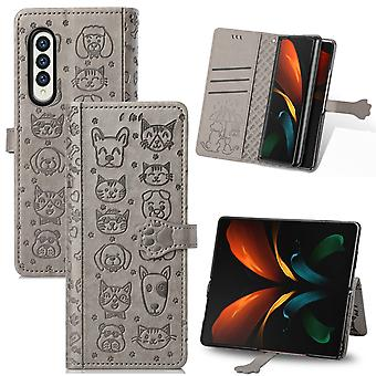 Case For Samsung Galaxy Z Fold 3 Wallet Embossed Cover Etui Housse Cat Dog Pattern - Grey