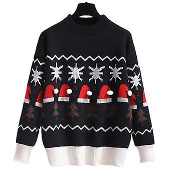 Kvinner Christmas Pullover Strikket Genser Xmas Strikkevarer