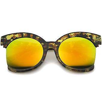 Womens Oversize Side Cut Marble Frame Iridescent Lens Cat Eye Sunglasses 59mm