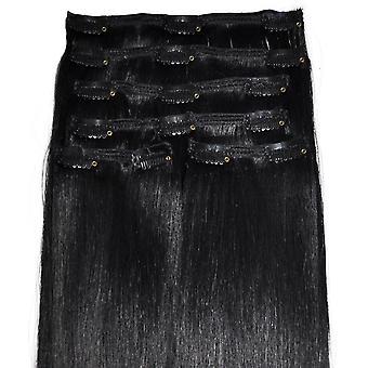 #1 jet Black - klip w przedłużanie włosów - pełna głowa - #1 - Jet Black