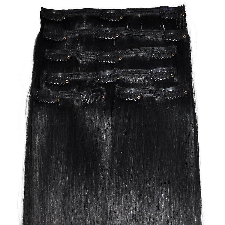 #1 jet Black - Clip en Extensions de cheveux - tête complète - #1 - Jet Black