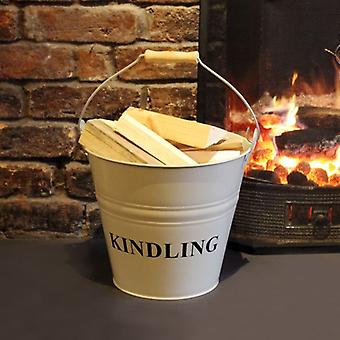 a'la Maison  Fireside Fireplace Steel Kindling Bucket Vintage Metal