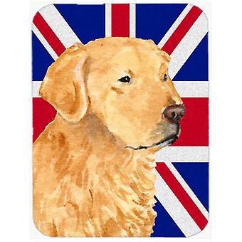 Golden Retriever avec anglais Union Jack drapeau britannique verre grande planche à découper