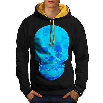 Sea Ocean Water Skull Men Black (Gold Hood)Contrast Hoodie | Wellcoda