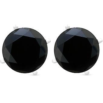2ct zwarte Spinel hengsten 6mm oorbellen 14K witgoud