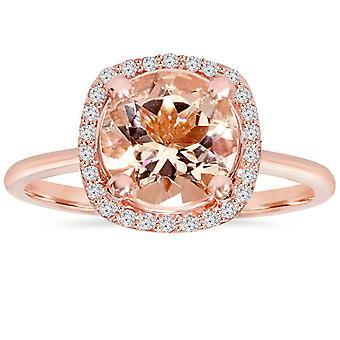 1 3/4 CT Morganite & Diamond kussen Halo 14K Rose Gold Ring