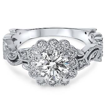 1 1 / 5ct DiamantVerlobungsring Vintage (1ct Center) Antik Halo 14K White Gold